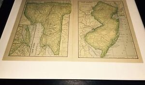 1908 New York New Jersey Antique Map B4 Wwi Conn Penn 4 Maps Great Bays
