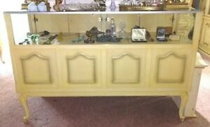 Pair Vintage French Provincial Collectible Retail Display Cases Curio Cabinets