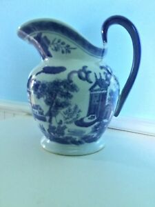 Vintage Chinese Ceramic Pagoda Water Pitcher Blue Gray
