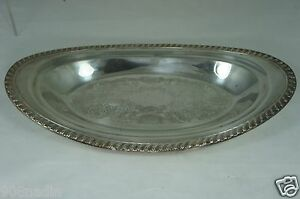 Vintage Silver Plate Small Oval Tray Platter Etched 12