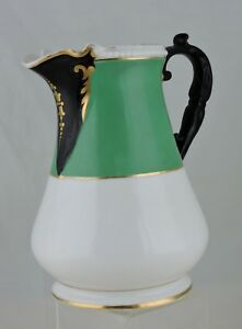 Antique Porcelain Pottery Green Black Gold White Pitcher