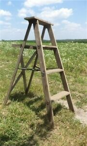 Vintage 4 Stepladder Folding Shabby Chic Display Cabinet Decor O Free Ship Usa