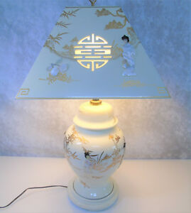 Mother Of Pearl Geisha Table Lamp Lampshade Japanese Porcelain White Lacquer