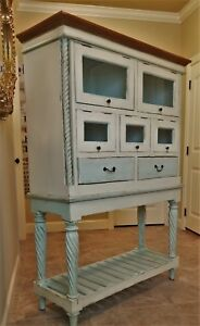 Vtg William Mary Nantucket Farmhouse Cupboard Pie Safe Cabinet Painted Pine