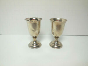 Pair Sterling Silver Cordials 950 Weighted Base 2 5 Inches Tall Hallmark Y