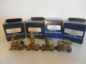 Coca-Cola Pewter 4 Unit Train Set With Boxes