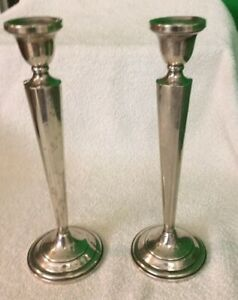 Antique 10 H Sterling Silver Cement Fill Base Candle Holders 830 Grams Estate