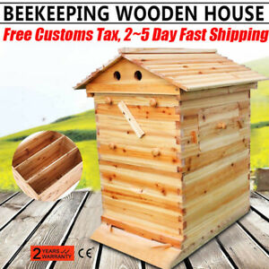 7 Auto Honey Bee Hive Frames Cedarwood Super Beekeeping Brood House Box Usa Sale