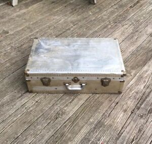 Vintage 1930 S 1940 S Silver Aircraft Aluminum Riveted Military Trunk Luggage