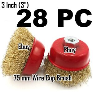 28pc Of 3 X 5 8 Arbor Fine Crimp Wire 28 Cup Wheel Brush For Angle Grinders