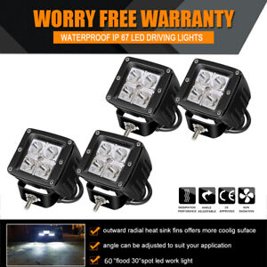 4x 3inch Led Work Light Square Cube Pods Spot Bumper Reverse Offroad Boat Lights