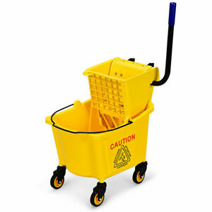 Commercial Mop Bucket Side Press Wringer On Wheels Cleaning 26 Quart Yellow