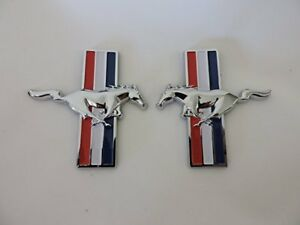 New Set Mustang Running Horse Tri Bar Pony Left And Right Metal Emblems Ford