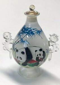 Vintage Glass Snuff Bottle Reverse Painting Panda Watermellon Footed Handles Box