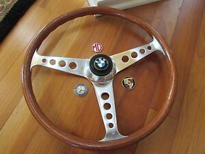 Les Leston 15 Classic Vintage Wood 1960 s Steering Wheel Horn Rare Walsall Uk