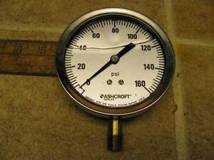 Ashcroft 35 1009awl 02l Xcylm 0 160 Psi 3 1 2 Pressure Gauge Liquid Filled
