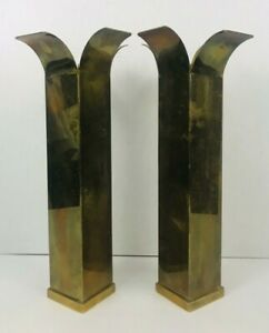 Mid Century Modern Square Brass Candle Holders 14 1 4 Tall Decorative Crafts
