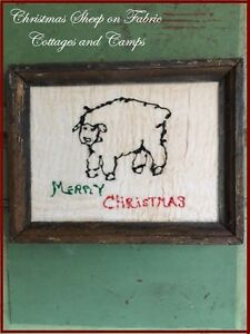Christmas Sheep Fabric Painting On Linen Antique Primitive Wood Picture Frame