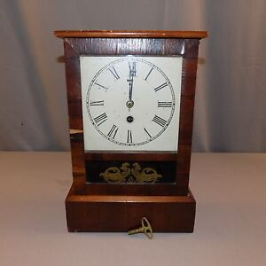 Antique Thirty Hour Time Pieces Working Mantle Clock Dated 8 30 1870 Key Vgc