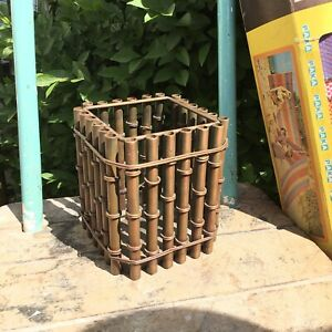Antique Faux Bamboo Copper Planter Vintage Chinoiserie