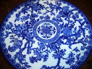 Antique Blue White Canton Asian Chinese Porcelain Plate Charger Dish