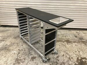 Mobile Sheet Pan Cart Storage Rack With Prep Work Top Station On Wheels 9794