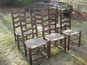 Set Of 6 Vintage Ladder Back Rush Seat Dining Room Chairs