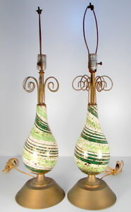 Mid Century Modern Green White Gold Swirl Pottery And Metal Lamps