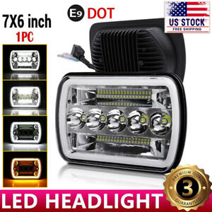 Black 5x7 7x6 Led Headlight For 1986 1995 Jeep Wrangler Yj 1984 2001 Cherokee Xj