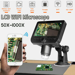 1000x 2 0mp Wireless Wifi Digital Microscope Magnifier 4 3 Hd Lcd Monitor 8 Led