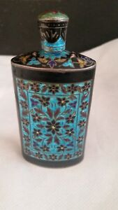 Vintage Indian Enameled Silver Perfume Bottle Oil Scent Flask India