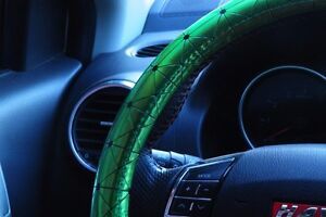 38cm Chrome Laser Bright Green Color Vehicle Car Steering Wheel Cover