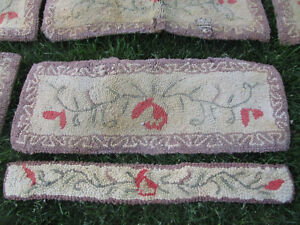 Pair Antique Vtg Primitive Country Hooked Stair Tread Riser Lily Thread