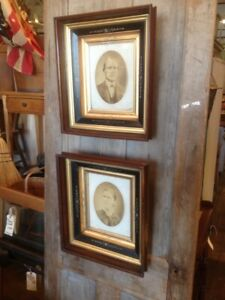 Antique Matched Pr Deep Well Shadowbox Eastlake Frames Portraits 17x15 View 8x10