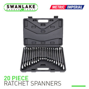 20pc Ratcheting Wrench Combination Flat Ratchet Spanner Set Inch Mm With Case