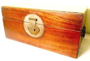 Antique Chinese Ming Stationery Chest 2599 Camphor Wood Circa 1800 1849