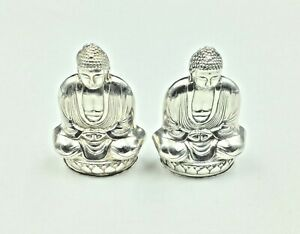 Vintage Buddha 925 Sterling Silver Salt Pepper Shaker Set Very Well Cared For