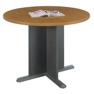 X base Cherry Stained Round Conference Table id 2172