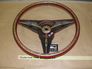 Oem 1975 75 Cadillac Deville Tilt Telescopic Steering Wheel Red With Woodgrain