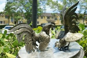 Big Pair Vintage Bronze Metal Fighting Cocks Roosters Sculpture Statues