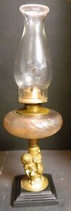 Antique Boy Lamb Figural Base Embossed Glass Oil Lamp W Chimney Very Good Cond