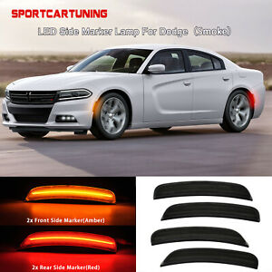 Front Rear Led Side Marker Lights Lamps For 2015 2019 Dodge Charger Smoked Lens