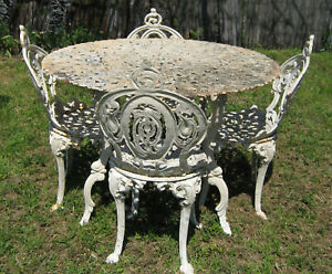 Antique Vintage Cast Iron 4 Chairs Table Garden Outdoor Patio Dining Set