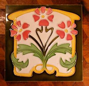 Antique French Art Nouveau Desvres Tube Lined Majolica Flower Tile Jugendstil