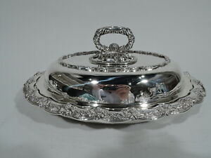 Tiffany Chrysanthemum Dish 6918 Antique Covered American Sterling Silver
