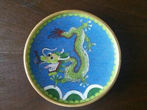 Vintage Chinese Dragon Cloisonn Plate Dish 4 1 2 Inches Wide Chinese