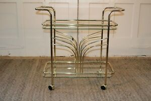 Vintage Hollywood Regency Brass Bar Cart Petite