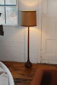 Rare Mid Century Danish Modern Vintage Solid Teak Bulbous Shaped Floor Lamp