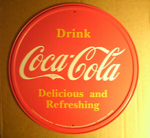 Round Tin Sign - Coca-Cola Vintage Style Advertising Man Cave Sign Soda Decor