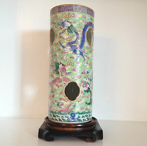 Rare Antique Vintage Chinese Porcelain Dragon Vase Hat Stand Marked Old Stand